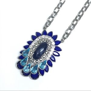 VTG Long Necklace Costume Blue Silver Rhinestone